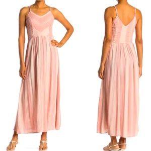 Pink Striped Summer Boho Maxi Dress